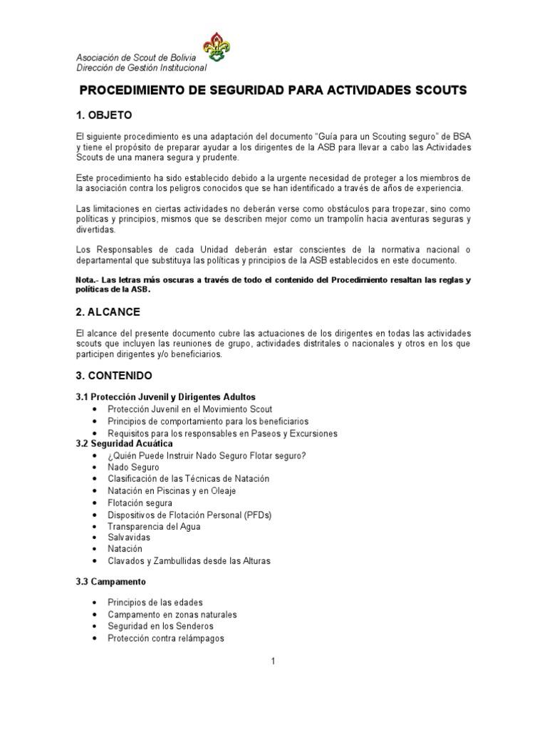 Procedimento de Seguridad Para Actividades Scouts 26 Agosto 2011