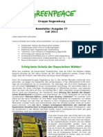 Newsletter 77 Juli 2012 Greenpeace Regensburg