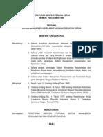 Peraturan Menteri Tenaga Kerja -Permenaker- Nomor Per.05-Men-1996 Ttg Sistem Manajemen Keselamatan Dan Kesehatan Kerja - SMK3