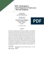 B2B E-Marketplaces Percepcion PV en Un Mdo Incipiente