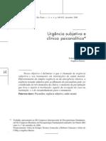 Revista Latinoamericana de Psicopatologia Fundamental - Urgência Subjetiva e Clínica Psicanalítica