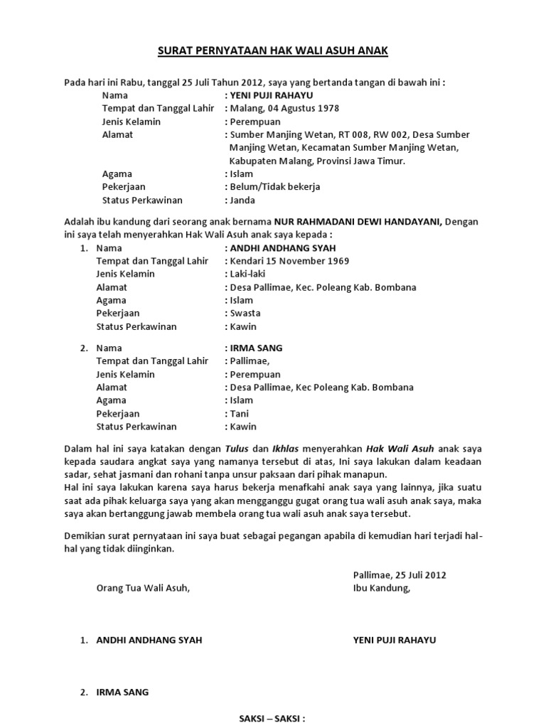 14+ Contoh surat perjanjian adopsi anak yang masih dalam kandungan terbaru yang baik