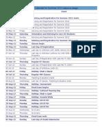 Academic Calendar Summer 2012