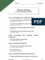 Resumen de Prensa, 30-07-12