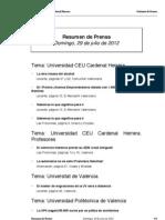 Resumen Prensa, 29-07-12