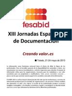 Jorrnadas Documentación Fesabid - Call For Papers