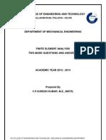 Finite Element Analysis - 2 Marks - All 5 Units
