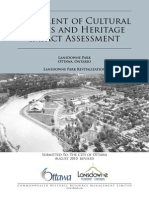 City of Ottawa's Statement of cultural values and heritage impact assessment of Lansdowne Coliseum