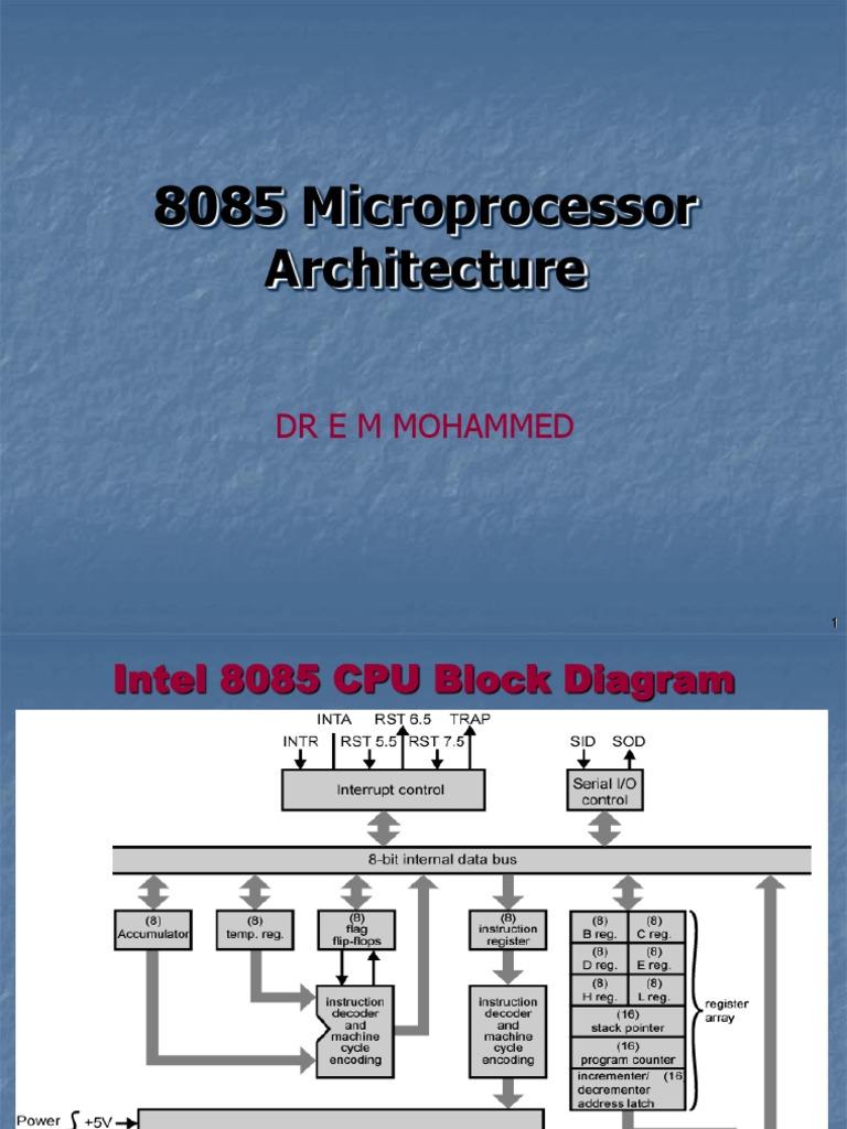 8085 Architecture Introduction Input Output Instruction Set Block Diagram