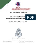 AALFF, Tercera Circular XXV Jornadas 2012