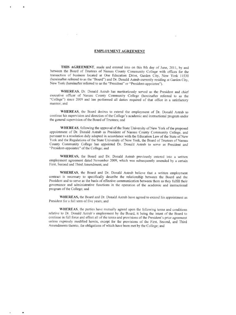 Donald Astrabu0027s Employment Agreement