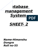 DBMS Sheet 2