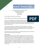 National Stonewall Democrats DNC Platform Drafting Committee Testimony July 28 2012