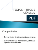 TEXTOS – TIPOS E GÊNEROS