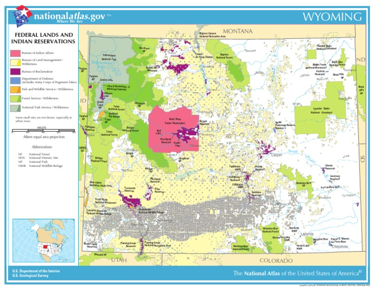 Wyoming Reservations Map Map of Wyoming   Federal Lands and Indian Reservations | Wyoming