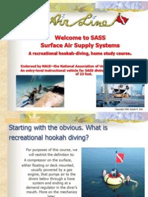 A recreational hookah-diving, home study course    Scuba