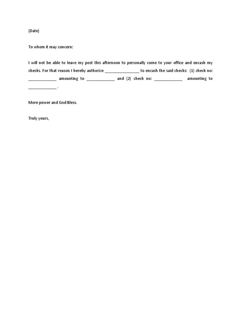 Sample Authorization Letter – Work Authorization Letter