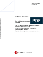 As 2678.6-2002 Zinc Sulfide Concentrates - Chemical Analysis Determination of Gold Content - Acid Dissolution