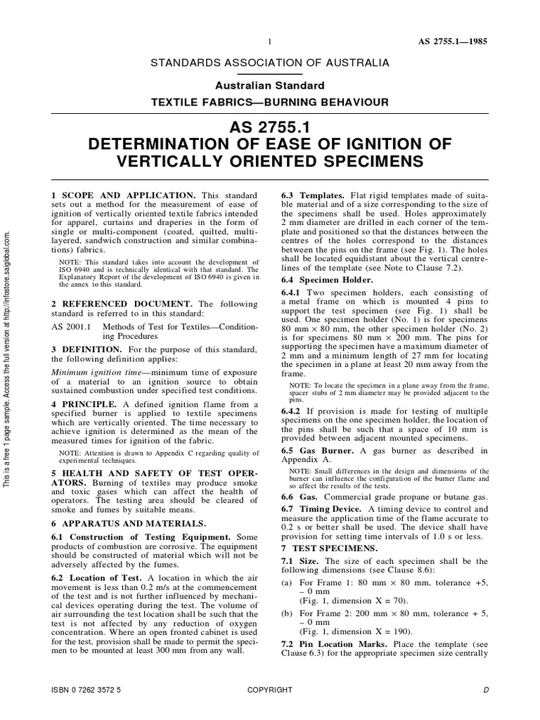 As 2755 1 Determination Of Ease Of Ignition Of Vertically