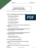 Resumen Prensa 31-07-2012