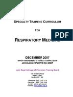 Respiratory Medicine Curriculum in UK