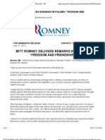 Mitt Romney Delivers Remarks in Poland
