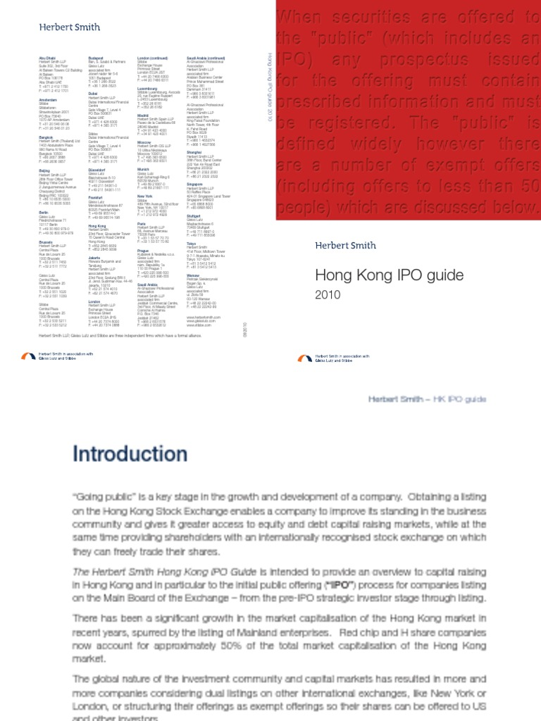Herbert Smith_HK IPO Guide_2010 | Initial Public Offering | Securities  (Finance)