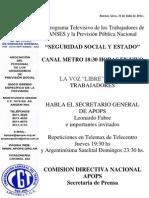 Comunicado - Programa de Seguridad Social y Estado