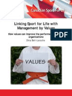 Linking Sport for Life With Management by Values