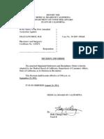 Suspension of Felilicia Rios, MD, California