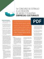 Convocatoria - Primer Concurso de Estímulo a la Creación de Micro y Pequeñas Empresas Culturales