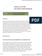 Social Affordances of the Internet Networked Individualism