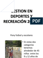 GESTION EN DEPORTES Y RECREACIÓN 2012-1