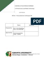 MT 244 - Post Production Techniques Lab Manual