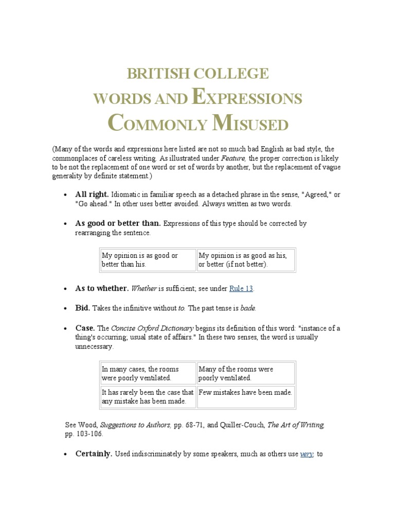words and expressions commonly misused
