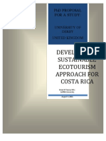 Phd Reserch Proposal - Developing a Sustainable Ecotourism Approach for Costa Rica - Brian m Touray Msc