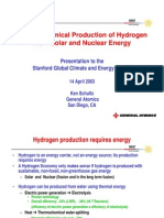 Thermochemical Production of Hydrogen From Solar and Neuclear Energy