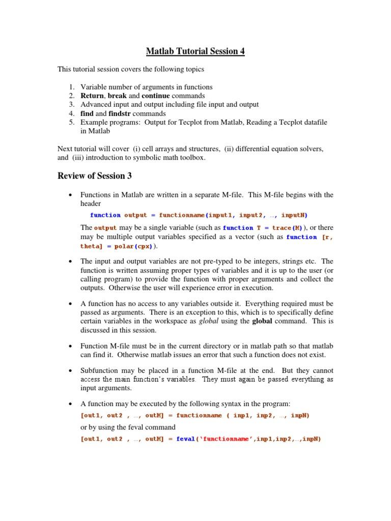 Matlab Session 4 | Parameter (Computer Programming