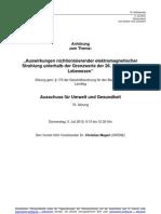 Protokoll der Anhörung zum Thema Mobilfunk und Gesundheit im - Umweltausschuss des Bayerischen Landtags am 5. Juli 2012