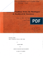 Recueil Des traditions orales Des Mandingues de Gambie Et de Casamance (presenté par Sekene - Mody Sissoko et Kaoussou Sambou)