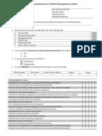 Credit Risk Management Questionnaire
