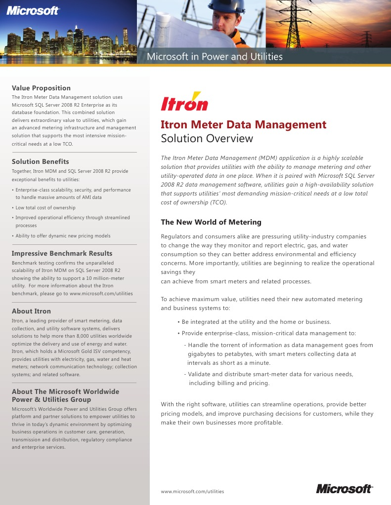 Itron meter data management with microsoft microsoft microsoft itron meter data management with microsoft microsoft microsoft sql server xflitez Gallery