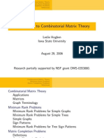 Introduction to Combinatorial Matrix Theory