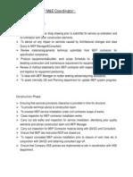 Responsibilities of MEP Coordinator
