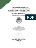 PENGARUH JENIS USAHA, UKURAN PERUSAHAAN DAN FINANCIAL LEVERAGE TERHADAP TINDAKAN PERATAAN LABA PADA PERUSAHAAN YANG TERDAFTAR DI BURSA EFEK INDONESIA (STUDI EMPIRIS DI BURSA EFEK INDONESIA)