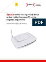 Estudio sobre la seguridad de las redes inalámbricas (wifi) en los hogares españoles, informe anual 2011