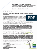 Dr Zakir Naik - Sponsorship Team Letter, Biodata, Schedule, Sponsorship Form