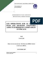 Les Operations Sur Le Capital Dans Les Societes Anonymes. Aspects Juridiques, Comptables Et Fiscaux