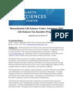 MA Life Sciences Center 2012 Life Sciences Tax Incentive Program Launch 2012