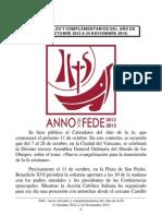 Actos oficiales y complementarios del Año de la Fe